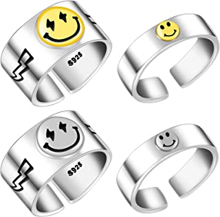 4 Pieces Women Smiling Face Open Ring Statement Ring Adjustable Vintage Rings Smiling Face Ring Jewelry for Women Men
