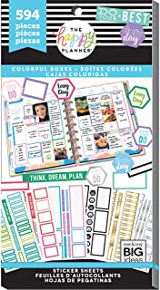 The Happy Planner Sticker Value Pack for Classic Planner - Colorful Boxes Theme - Multi-Color - Great for Projects, Scrapbooks & Albums - 30 Sheets, 594 Stickers Total