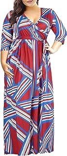 Nemidor Women's 3/4 Sleeve Floral Print Plus Size Casual Party Maxi Dress
