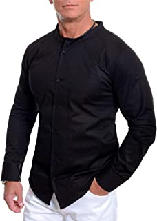 D&R Fashion Men's Crew Neck Shirt Long Sleeve Collarless Casual Slim Fit Contrast Stitching