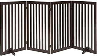 Unipaws Wood Pet Gate, Free Standing Stair Gate, Indoor Foldable Dog Gate, Safety Doorway Pet Barrier with 2 PCS Support F...