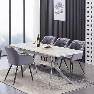 Table à Manger Extensible Effet Marbre + 4 Chaises de Salle à Manger en Velours Capitonnées - Style Design & Contemporain...