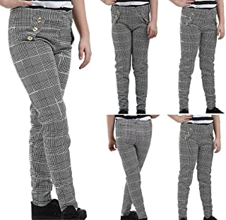 Hi Fashionz Girls Paper Bag Trousers Pants Button Check Hound Tooth Kids Children Leggings