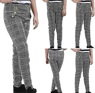 Hi Fashionz Girls Paper Bag Trousers Pants Button Check Hound Tooth Kids Children Leggings