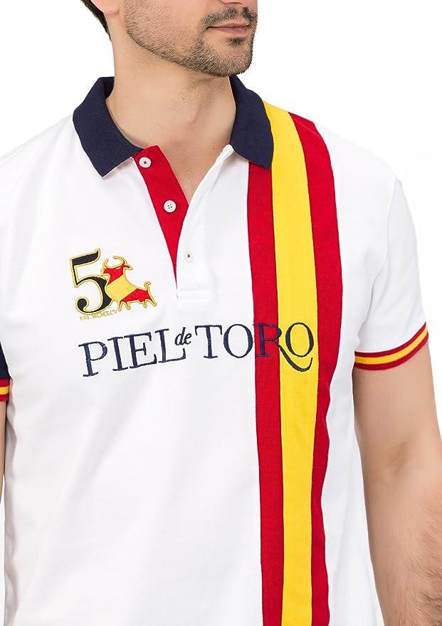 Piel de Toro Bandera ESPAÑA Franja Vertical Polo, Blanco ...