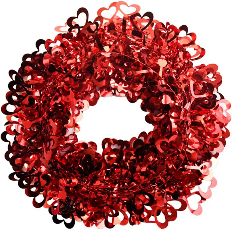 Ochine Tinsel Heart Wreaths Garland Valentines Day Red Heart Shaped Wreaths Decor Valentine Hanging Door Wall Wreath Wedding Wreaths for Valentines' Day Wedding Party Decorations