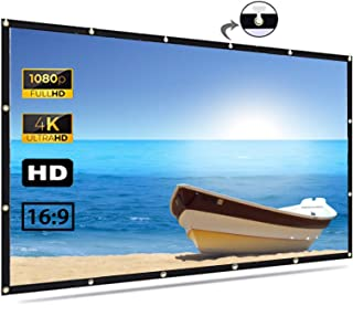 Projector Screen 100 inch, 4K Movie Projection Screen 16:9 HD Foldable & Portable Outdoor Projection Indoor for Home, Part...