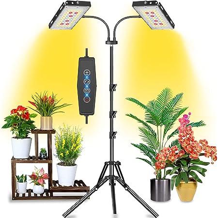 JCBritw L/ámpara de cultivo LED de 100W con soporte blanco rojo azul de espectro completo l/ámpara colgante regulable con de temporizador luz hidrop/ónica para plantas de interior pl/ántula flor vegetal