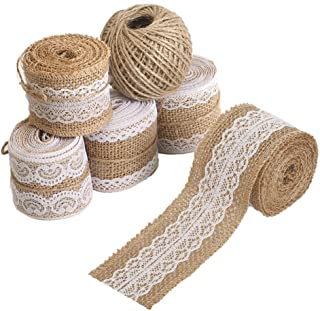 Tenn Well Lace Burlap Ribbons, 33 Feet 2 inch Burlap Ribbon Rolls with Jute Twine for Gift Wrapping DIY Crafts Weddings (5PCS X 6.6Feet)