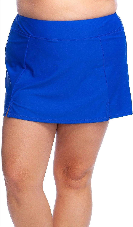 Maxine Of Hollywood Women's Plus-Size Side Slit Swim Skirt Swimsuit