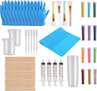 Yaromo 82 Pieces Epoxy Glitter Tumblers Kit, Includes Magic Epoxy Brush, Fine Glitter, Measuring Cups, Measuring Beaker with Mixing Sticks, Dropping Pipette, Gloves for DIY Mixing, Glitter Tumblers