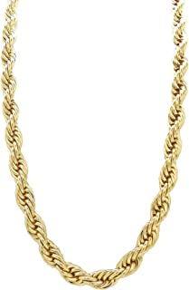 Hip Hop 80' Unisex Rapper's 8, 10, 12mm Hollow Rope Chain Necklace in Gold, Silver Tone