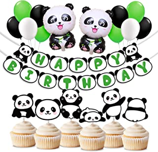 KREATWOW Panda Birthday Party Decorations Panda Mylar Balloons Cupcake Toppers for Kids Birthday Baby Shower