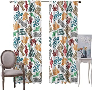 GUUVOR Tribal Room Darkened Heat Insulation Curtain Mayan and Aztec Primitive Icons with Shaman and Lamas Figures Archaic Boho Design Living Room W96 x L72 Inch Multicolor