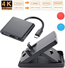 CONNYAM USB C to HDMI Multiport Adapter with Play Stand for Nintendo Switch, USB 3.1 Type-C to HDMI 4K Video Adapter/USB 3.0 Hub Port, Compatible with MacBook Pro Samsung Galaxy S8, Google Pixel