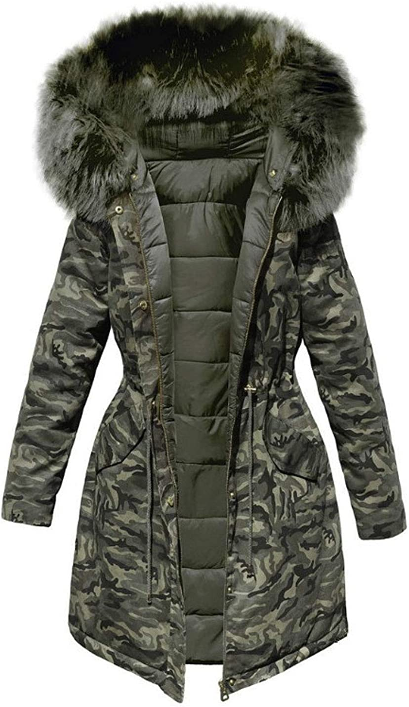 Lentta Womens Camouflage Faux Fur Trim Hoodie Outerwear Puffy Quilted Parkas Jackets