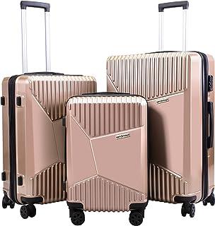VLIVE Luggage Set PC+ABS, Hardshell Expandable Suitcase W/Spinner Wheel & TSA Lock, 3 Piece Set (20/24/28) (Rose Gold)