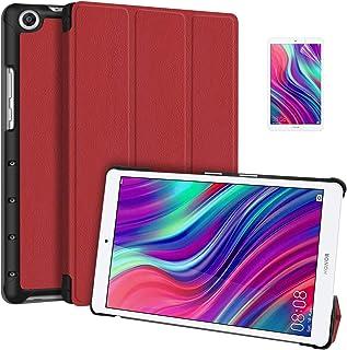 [ElekFX] M5 Lite8 ケース 高級感PUレザー 三つ折り手帳型 Huawei M5 Lite Touch ケース カバー MediaPad M5 8.0インチ スマートケース マグネット内蔵 スタンド機能 全面保護型 スタンド機能...