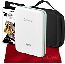 Canon Ivy Mini Mobile Photo Printer (Mint Green) with Canon 2 x 3 Zink Photo Paper (50 Sheets) and Hard Shell Case Deluxe Bundle