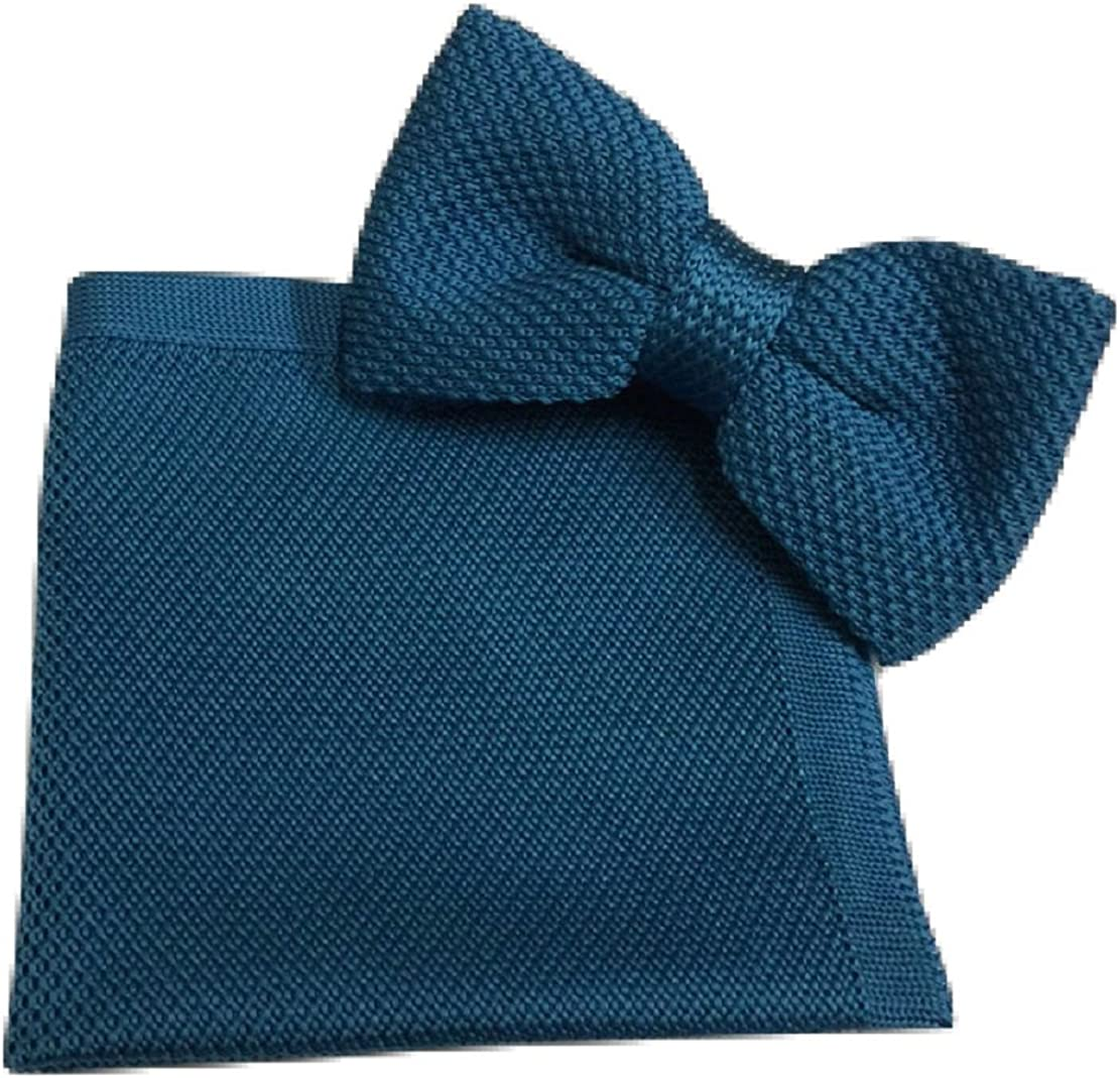 L&L Men's Knit Knitted Knitting Bow Tie + Pocket Square Handkerchief Hanky Set