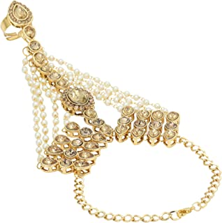 Jwellmart Indian Gold Polish CZ Faux Pearl Partywear Bridal Wedding Hath Panja/Hand Ornament for Women and Girls (1pc only)