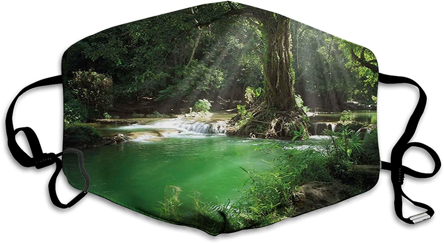 Nature, Tropical Forest Foliage with Cascade Rainforest Relaxing National Park Image, Green Brown Mouth Face Mask Anti Breathable Absorb Sweat Washable Reusable Masks for Adult