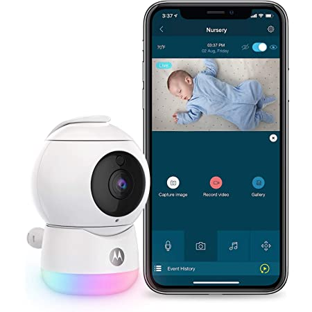 Motorola Peekaboo WiFi 1080p Video Baby Monitor - Multi-Color Night Light, Two-Way Audio, Infrared Night Vision – 360 Degree Remote Pan Scan and Digital Zoom/Tilt, Soothing Sounds & Lullabies