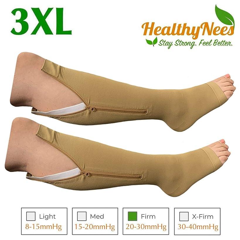 HealthyNees Big Tall Plus Size Wide Calf & Extra Wide 20-30 mmHg Open Toe Medical Compression Leg Swelling Circulation Men Women Socks (Beige with Zipper, Big Calf 3XL)