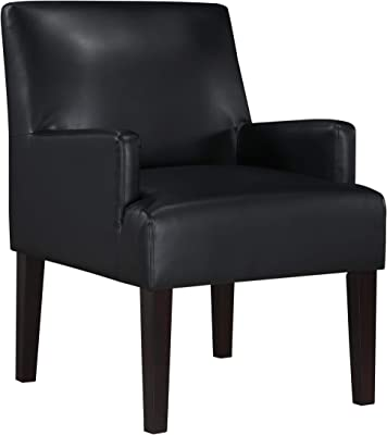 Work Smart Main Street Upholstered Guest Chair with Espresso Finish Legs, Black Faux Leather