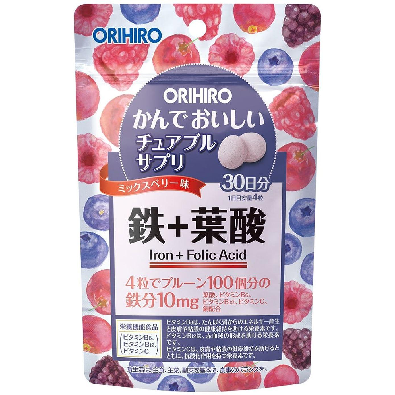 供給国際つま先オリヒロ かんでおいしいチュアブルサプリ 鉄+葉酸 120粒