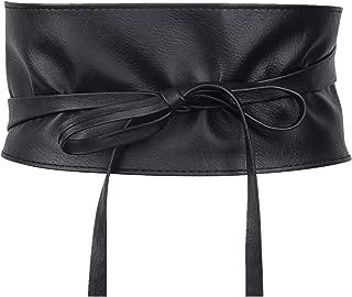 Women Lace Wide Belt Soft Faux Leather Obi Style Waist Band Belt Fashion Dress Belt