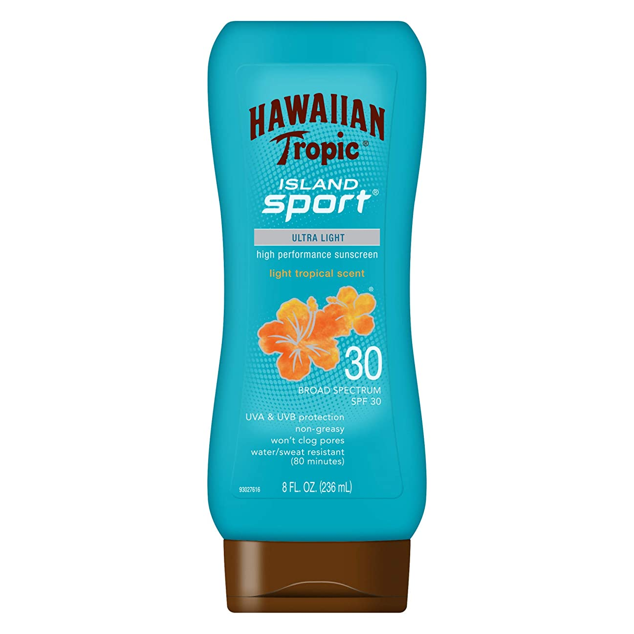 統合建てるくるみHawaiian Tropic アイランドスポーツウルトラライト高性能Suncreenローション、ライト熱帯香りSPF 30 8オンス