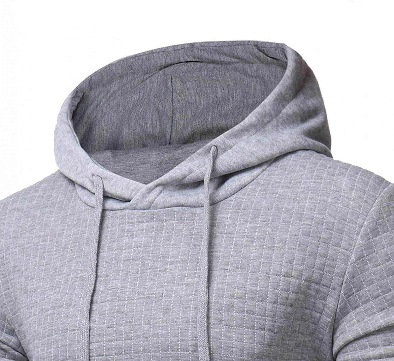 Hoodies for Mens Mens's Autumn Slim Casual Plaid Hooded Long-sleeve Sweatershirt Top Mens Hoodies & Sweatshirt Blouses