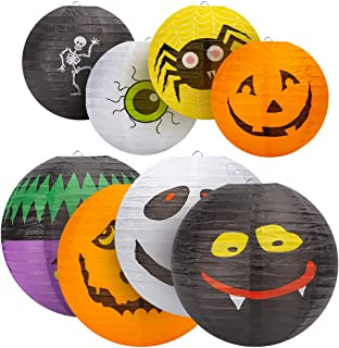 Halloween Decorations Paper Lanterns(8PCS),Hanging Lantern Spider Skeleton Pumpkin for Halloween Indoor & Outdoor Spooky H...