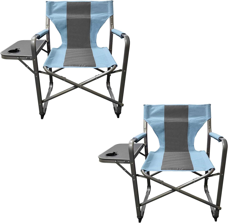 Caravan Canopy Elite Portable Director's Folding Carry Chair, bluee Grey (2 Pack)