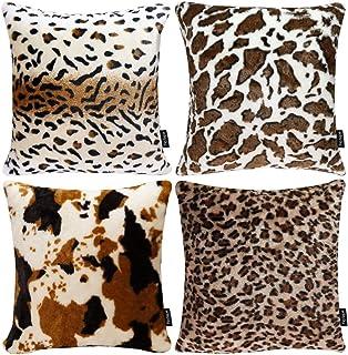 Faylapa 4 Pack Soft Plush Leopard Print Pillow Covers,Animal Theme Print Faux Fur..