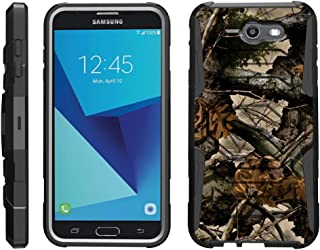TurtleArmor | Compatible with Samsung Galaxy J7 2017 Case | J7 Prime | J7 Sky Pro [Octo Guard] Dual Layer Case Holster Belt Clip Sturdy Kickstand Cover - Tree Leaves Camouflage