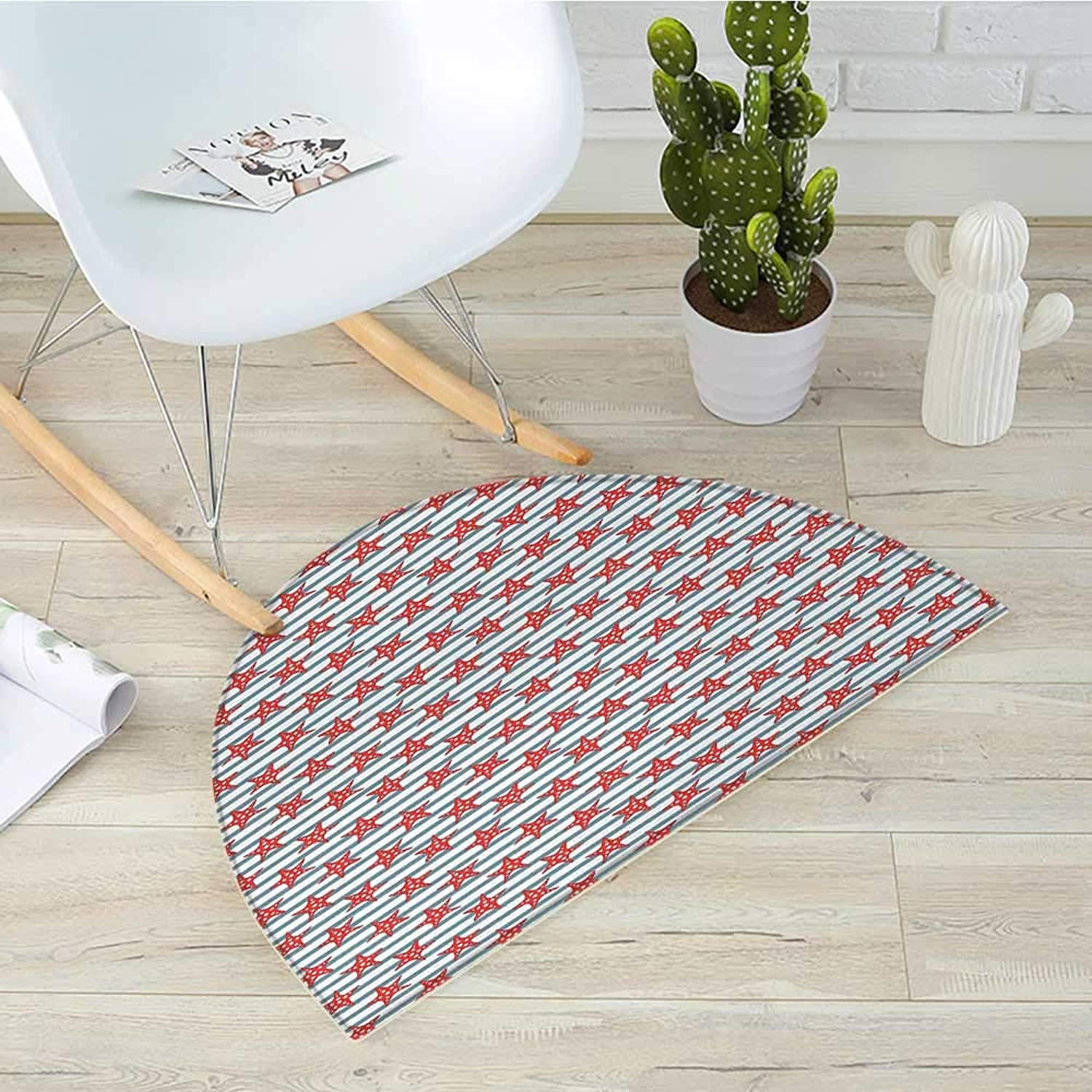 Starfish Half Round Door mats Stripes Background with Dotted Seastar Pattern Exotic Subaquatic Animals Bathroom Mat H 39.3  xD 59  Slate bluee Red White