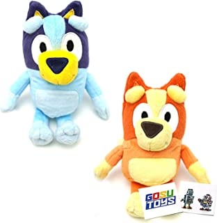 Bluey Friends Plush 8 Inch (2 Pack) 1 Bluey 1 Bingo with 2 GosuToys Stickers
