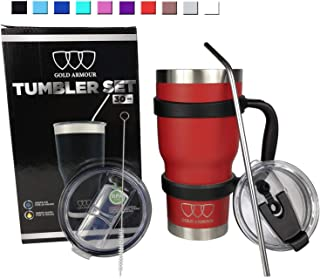 30 oz Tumbler - 6 Piece Stainless Steel Insulated Water & Coffee Cup Tumbler with Straw, 2 Lids, Handle - 18/8 Double Vacuum Insulated Travel Flask (Red)