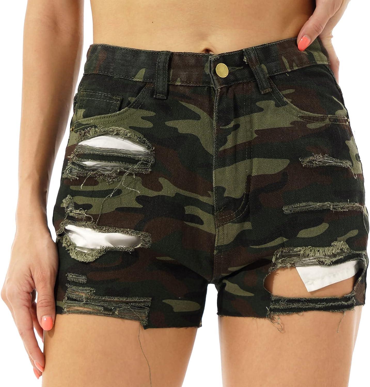 Hularka Women Camouflage Print Ripped Denim Shorts Raw Hem Ripped High Waist Jean Shorts