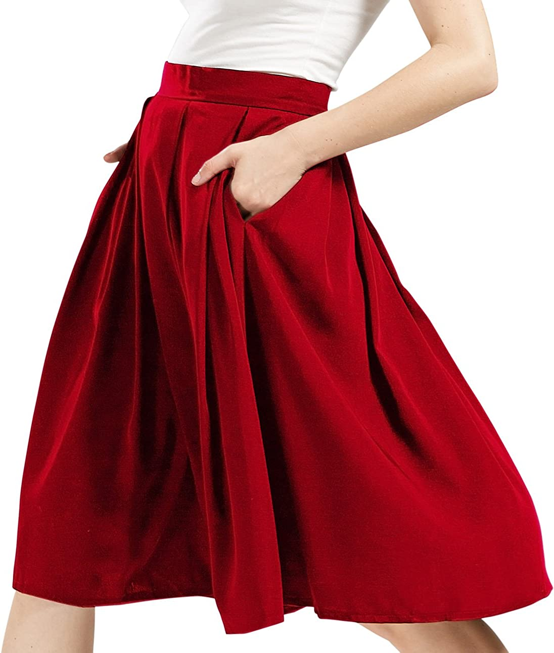 chouyatou Women's High Waisted A-Line Flare Pleated Midi Skater Skirt with Pockets