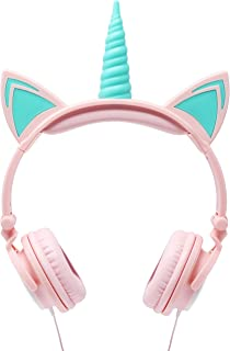 Gabba Goods Premium LED Light Up in The Dark Unicorn Over The Ear Comfort Padded Stereo Headphones with AUX Cable | Earphone Gift- Pink