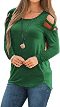 MISSLOOK Women's Short Sleeve Cold Shoulder Tops Summer Shirts Crew Neck Casual T-Shirts Tunic