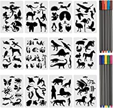 COCODE Set of 12 Animal Stencils with 10 Colored Fineliner Pens, Plastic Drawing Painting Templates with Sea Animals, Wild Animals Over 80 Different Animal Patterns for Card DIY Crafts Projects