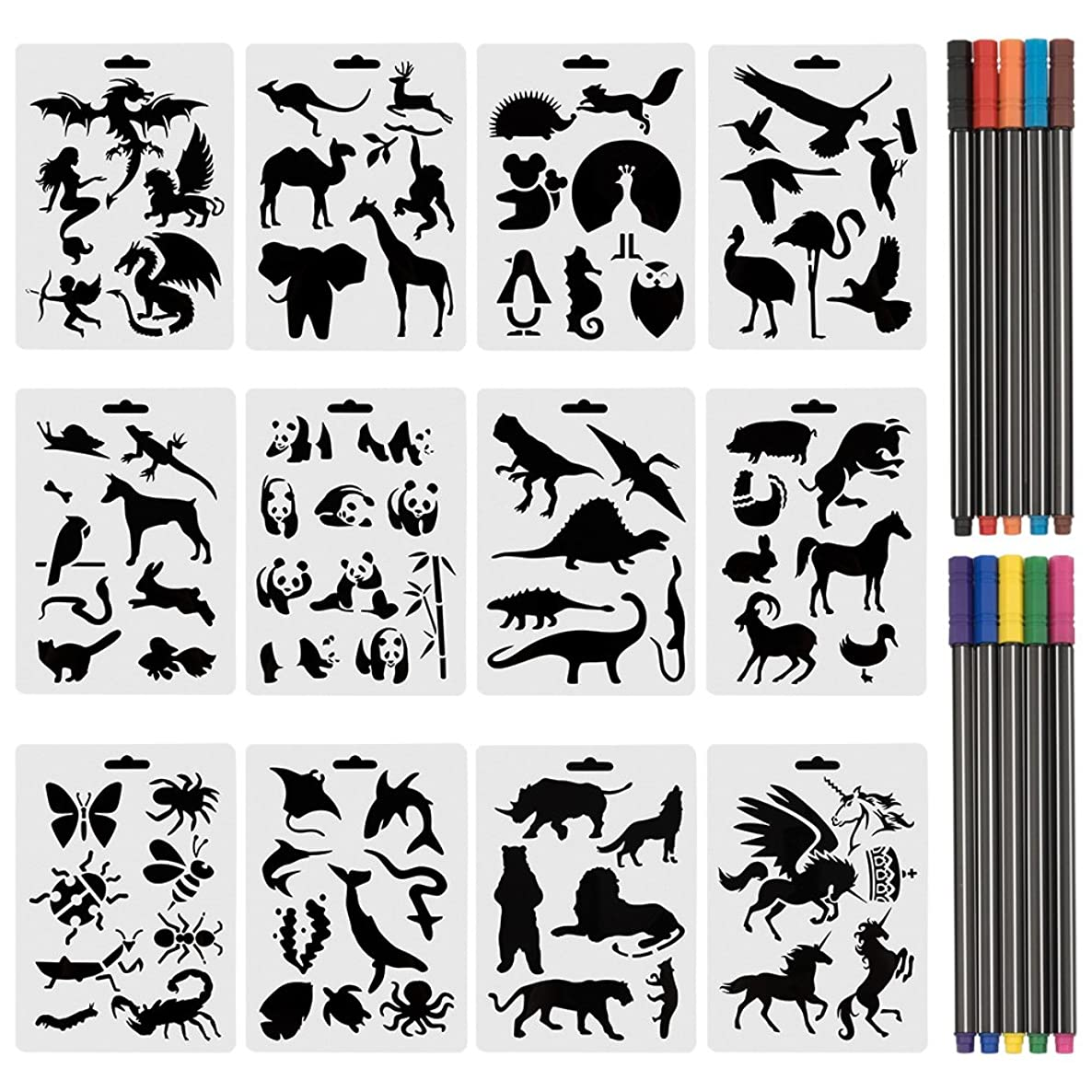 URlighting Drawing Animal Stencils Set(12 Pcs) Painting Templates with 10 Fineliner Color Pen for Children Creation, Animal Education, School Projects, Scrapbooking, Kids DIY Crafts