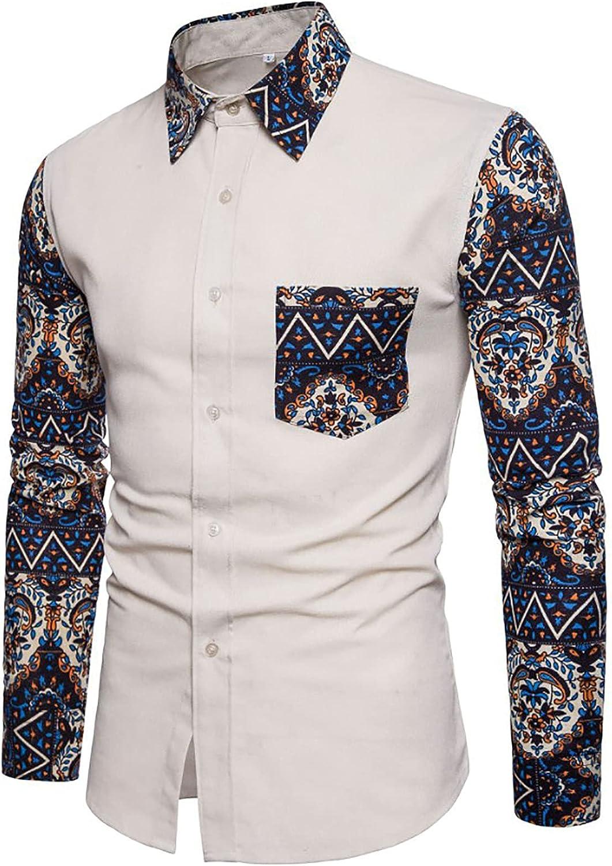 CofeeMO Bravetoshop Men's Button Down Shirt Long Sleeve Slim Fit Fashion Printed Shirt Casual Dress Shirt