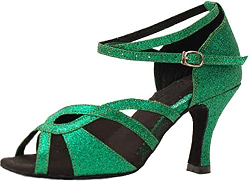 LEIT YFF Cadeaux Femmes Dance Danse Danse Latine Dance Tango Chaussures 8CM,vert,34