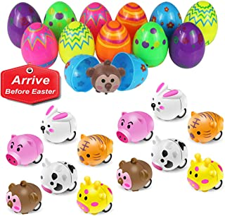 """Mitcien 12 Pack 2 3/8"""" Easter Eggs Toys Filled with MiniAnimal Pull Back Cars Plastic Surprise Eggs Easter Toys Gifts for Kids Toddlers Easter Basket Stuffers Easter Egg Fillers Hunt Game Prizes"""