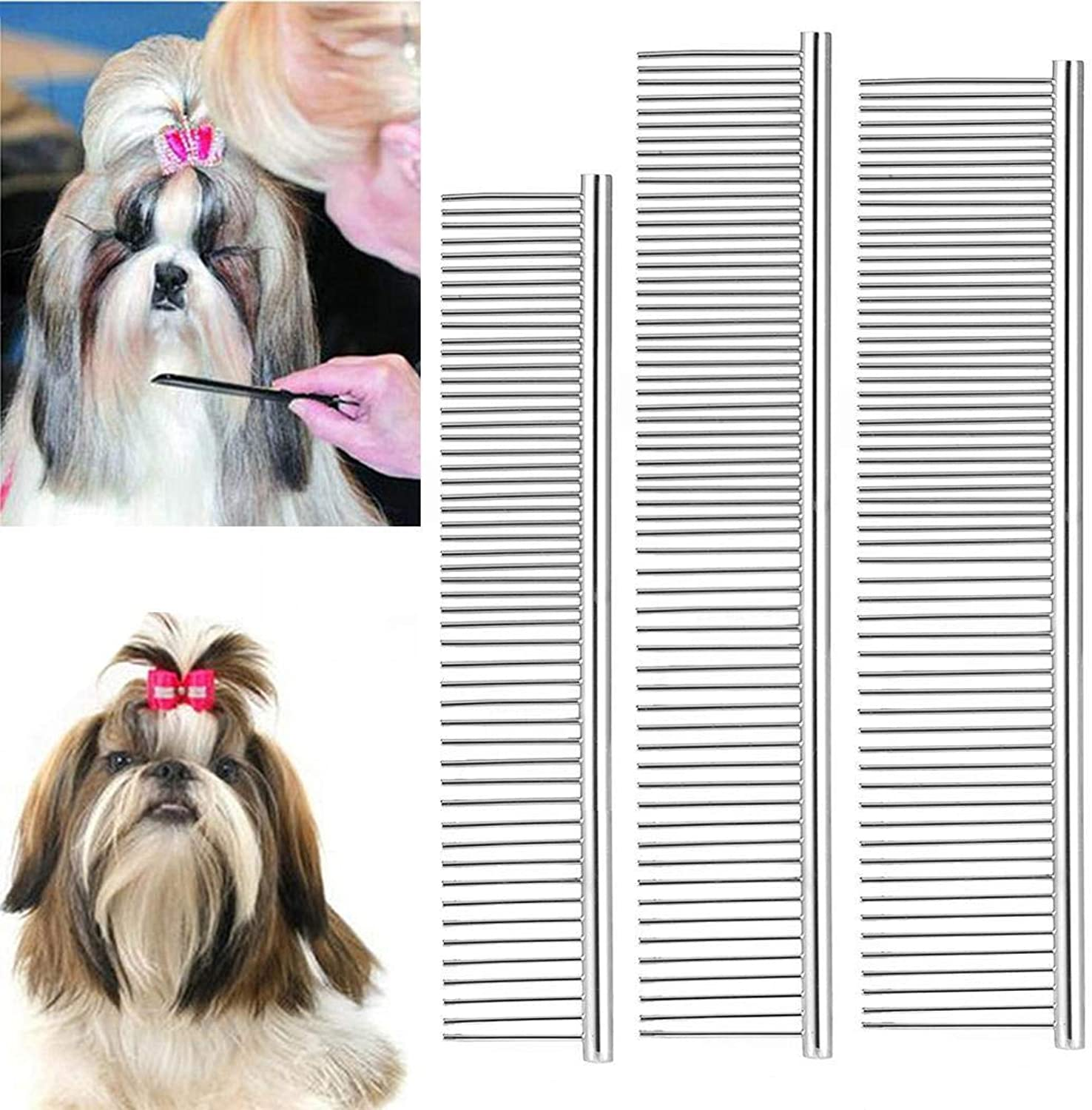Nessere Pet Dogs Cats MultiFunction Stainless Steel Hair Grooming Comb Cleaning Brush (M)